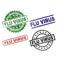 scratched textured flu virus seal stamps vector image