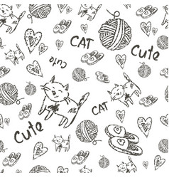 Seamless background cat vector