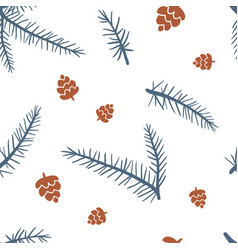 seamless pattern with cones and fur tree vector image