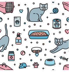 Seamless pattern with pet shop products for cats vector