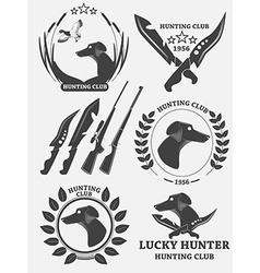 Set hunting retriever logos labels and badges vector