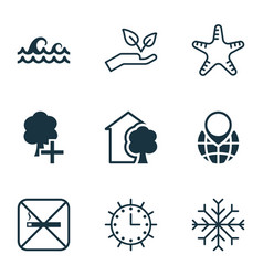 set of 9 eco-friendly icons includes snow sun vector image vector image