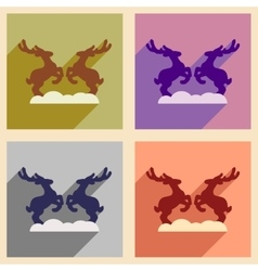 Set of flat icons with long shadow pair deer vector