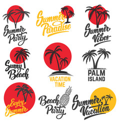 Set of summer emblems with palm trees design vector