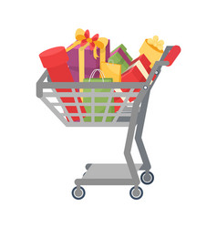 shopping cart presents gift boxes color packages vector image