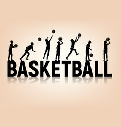 silhouettes letters basketball boy playing ball vector image