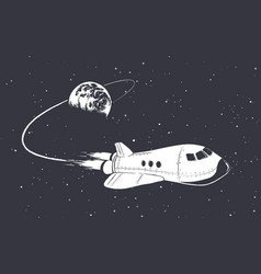 spaceship flying from earth vector image