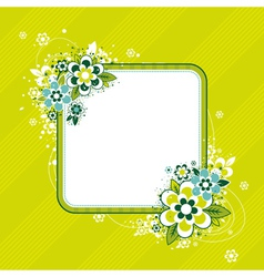 square frame with flowers on green background vector image