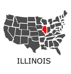 State of illinois on map of usa vector