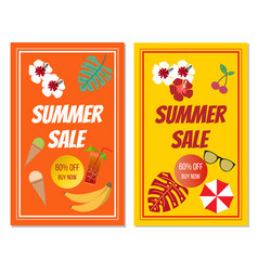 summer sale banner set with tropical elements vector image