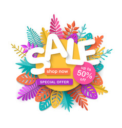 summer spring or autumn sale banner with colorful vector image