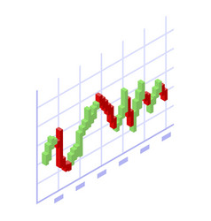 Trader red green graph icon isometric style vector