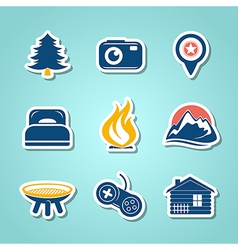 Travel and outdoor paper icons vector