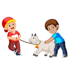 two kids playing with goat vector image