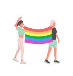 Two lesbian activists with lgbt flag at a street vector