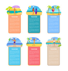 Vacation set poster collection vector