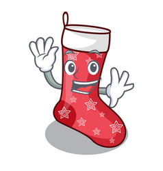 Waving cartoon christmas socks for gifts christmas vector