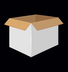 white cardboard open box side view package design vector image