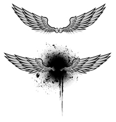 Wings grunge Set vector image