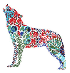 wolf ornate pattern vector image