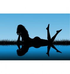 woman silhouette reflected on water vector image
