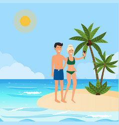 young couple taking a selfie on a vacation vector image
