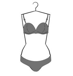 gray underwear set hanging on a hanger eps10 vector image