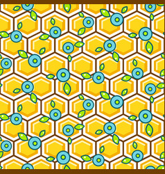honeycomb pattern cells with berry vector image vector image