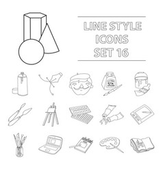 artist and drawing set icons in outline style big vector image vector image