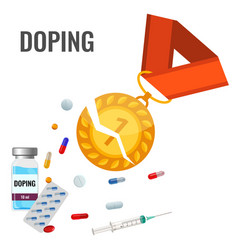 doping drugs anti-agitative banner with broken vector image vector image