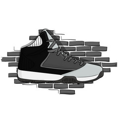 high sneakers black-gray lacing on the background vector image vector image