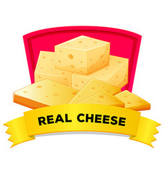 Label design with real cheese vector image vector image