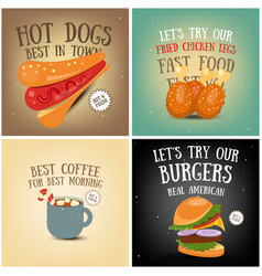 coffee fast food ice cream posters vector image vector image