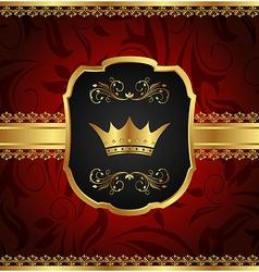 golden vintage frame with crown - vector image vector image