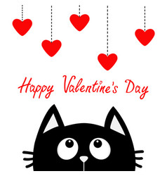 happy valentines day black cat looking up to vector image