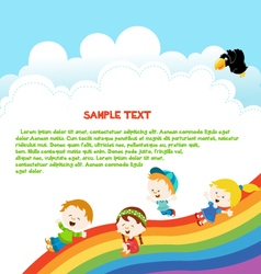 Kids Enjoying Rainbow vector image vector image