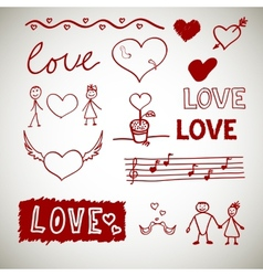 Love sceth romance doodles vector image