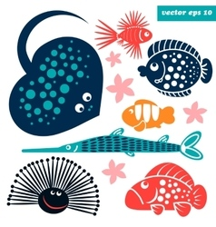 sea creatures for children vector image