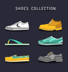 set of different shoes icons in flat style vector image vector image
