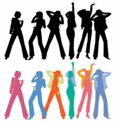 silhouettes of dancing peoples vector image