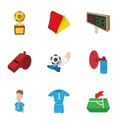 Sport football icons set cartoon style vector image vector image