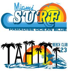 tropical set miami and tahiti vector image vector image