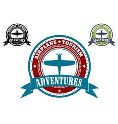 Airplane Tourism emblems vector image