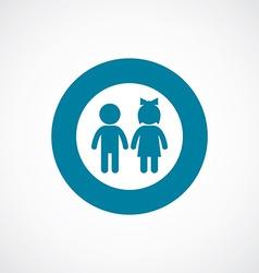 Girl and boy icon bold blue circle border vector