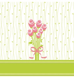 Greeting card with rose flowers vector image vector image