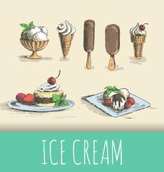 Ice cream types vector image