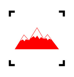 mountain sign red icon vector image