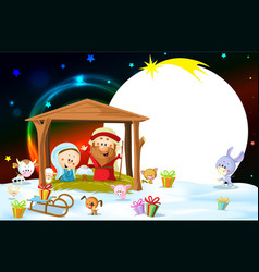 Nativity in bethlehem with animals - christmas vector
