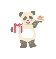Panda Cute Animal Character Attending Birthday vector image vector image