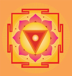 Sacred Geometry orange yantra vector image vector image